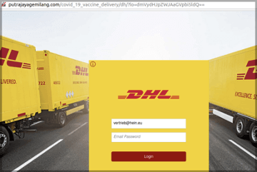 COVID-19 Vaccine DHL Phishing Page Auto-Fills Victim's Email