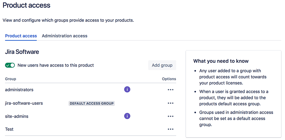 Default Access Group with Product Access