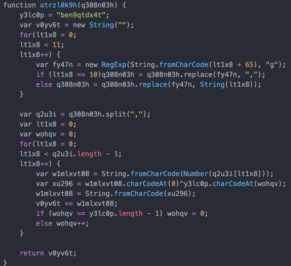 JavaScript Snippet Containing the XOR Function