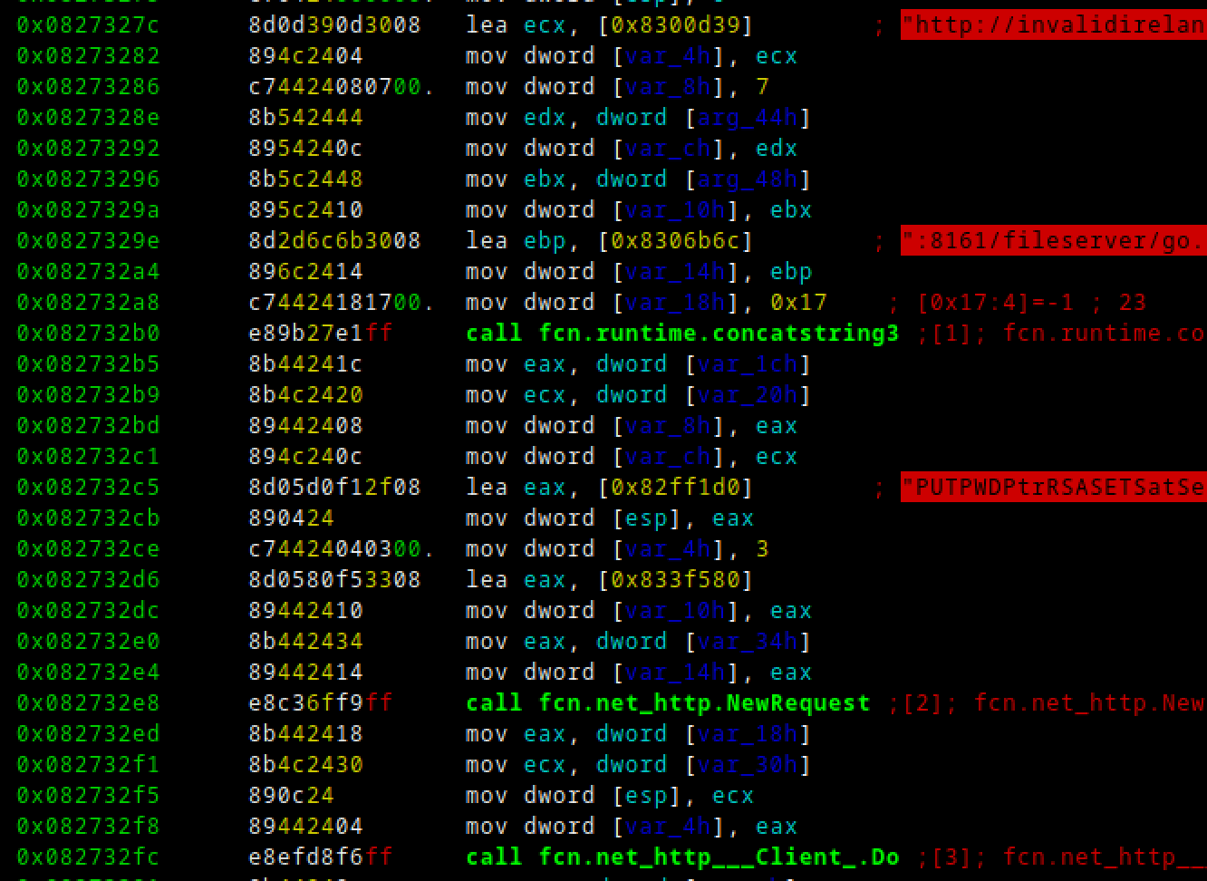 """LSD malware constructing a """"PUT"""" request to upload the crontab file to """"/fileserver/go.txt"""" on the ActiveMQ host."""