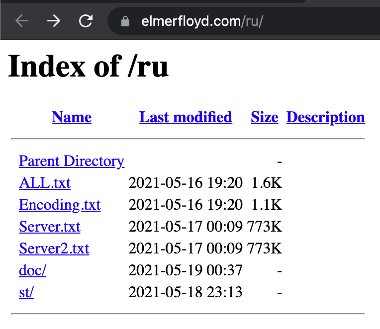 Directory of Malicious Files Hosted on Elmer Floyd Compromised Site