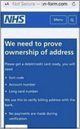 Phishing Site Spoofing NHS and Asking for Debit/Credit Card Information
