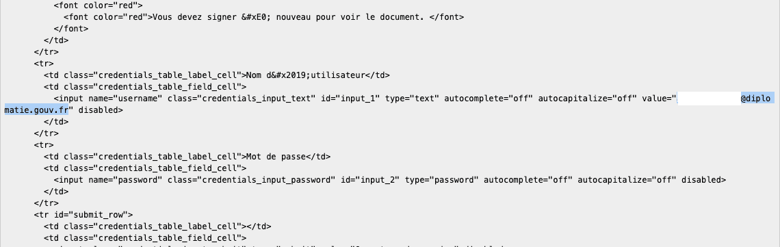 Page source code for MEAE portal and victim email address