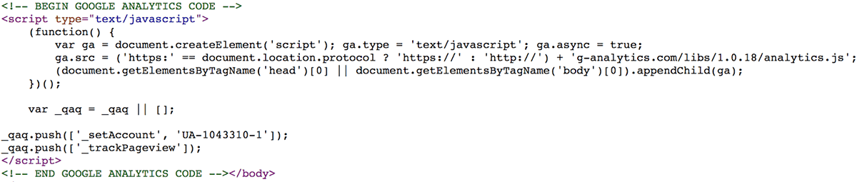 Malicious code snippet impersonating Google Analytics on compromised machine.