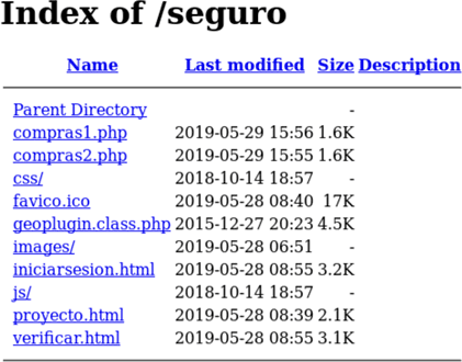 Example of an open directory listing CompraNet (Mexico) related phishing components