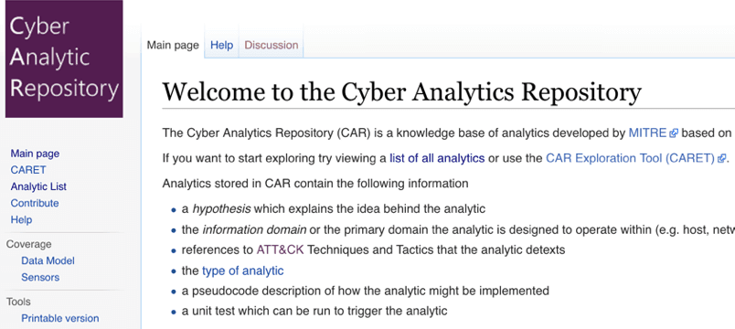 MITRE Cyber Analytics Repository (CAR)